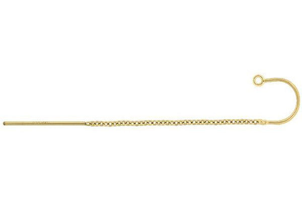 Gold-Filled Cable Chain Ear Thread w/Ring, 57.0mm
