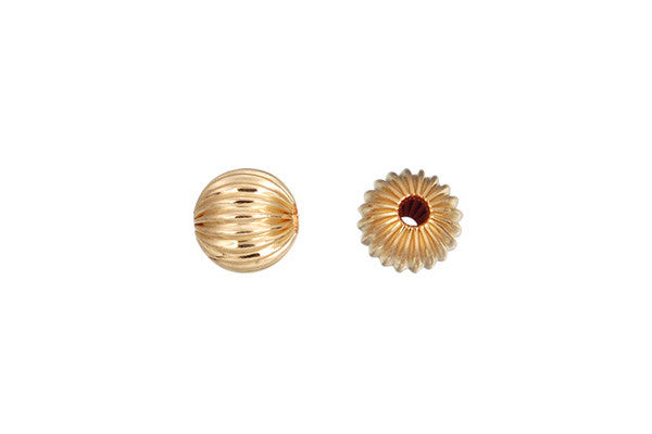Gold-Filled Round Corrugated Bead, 3.0mm