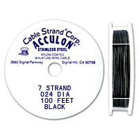 "Acculon 7-Strand 22-Gauge, .024"" Black Tigertail Wire"