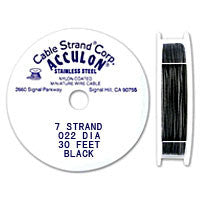 "Acculon 7-Strand 23-Gauge, .022"" Black Tigertail Wire"