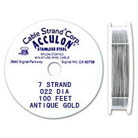 "Acculon 7-Strand 23-Gauge, .022"" Antique Gold Tigertail Wire"