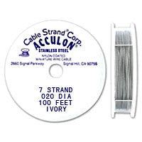 "Acculon 7-Strand 24-Gauge, .020"" Ivory Tigertail Wire"