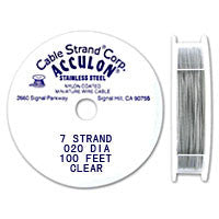 "Acculon 7-Strand 24-Gauge, .020"" Clear Tigertail Wire"
