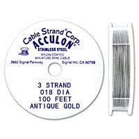 "Acculon 3-Strand 25-Gauge, .018"" Antique Gold Tigertail Wire"
