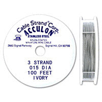 "Acculon 3-Strand 26-Gauge, .015"" Ivory Tigertail Wire"