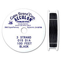 "Acculon 3-Strand 26-Gauge, .015"" Black Tigertail Wire"