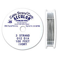 "Acculon 3-Strand 28-Gauge, .012"" Ivory Tigertail Wire"