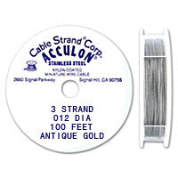 "Acculon 3-Strand 28-Gauge, .012"" Antique Gold Tigertail Wire"