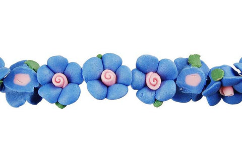 Pendant Poly Clay Flower (Blue)
