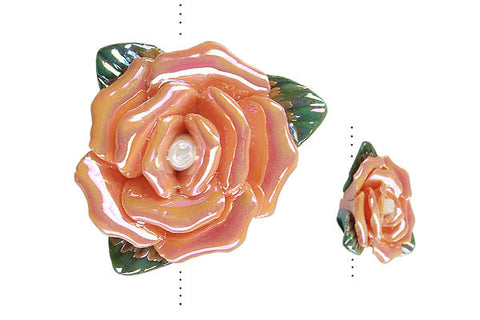 Pendant Poly Clay Flower (Orange 99185)