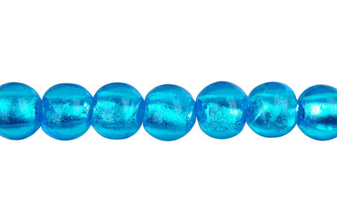 Murano Foil Glass Round (Sky Blue)