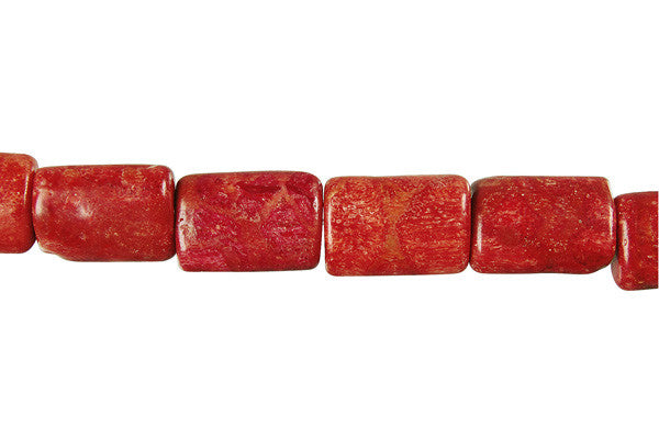 Red Sponge Coral Puffy Rectangle Beads