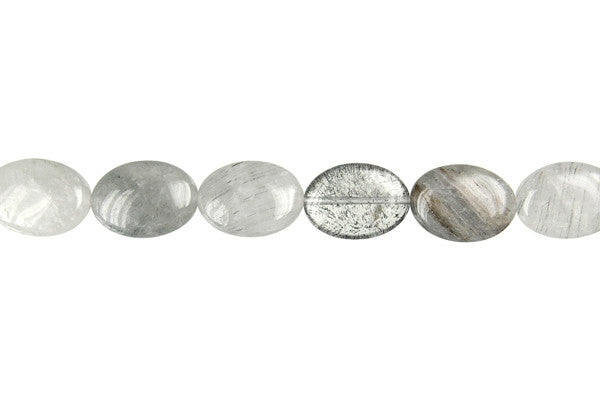 Gray Tourmalined Quartz Flat Oval Beads
