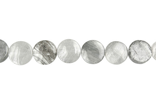 Gray Tourmalined Quartz Coin Beads