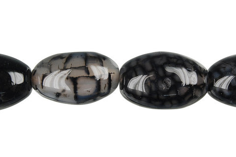 Fire Agate (Black) Rice Beads