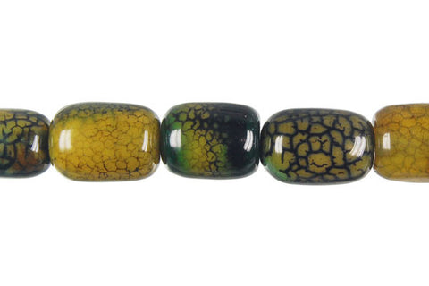 Fire Agate Drum (Green) Beads