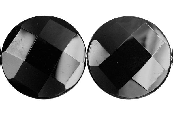 Black Onyx Faceted Coin Beads