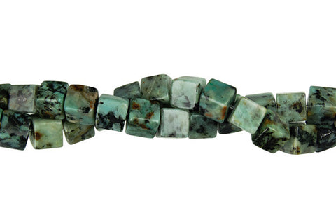 African Turquoise Cube Beads