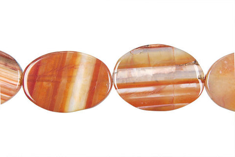Sardonyx (Red) Flat Oval Beads