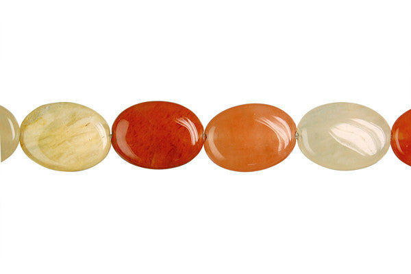 India Red Aventurine Flat Oval Beads