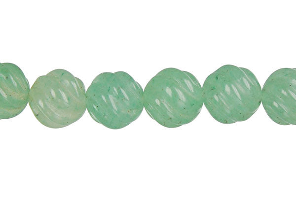 Green Aventurine Carved Wave (Round) Beads