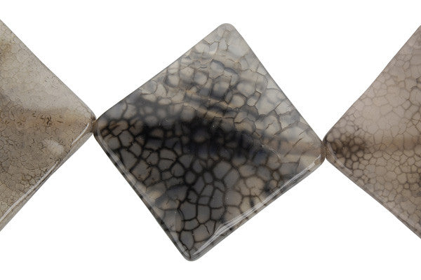 Fire Agate (Black) Wavy Diamond Square Beads