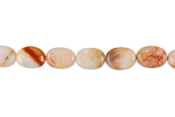 Bamboo Leaf Agate (Red) Flat Oval Beads