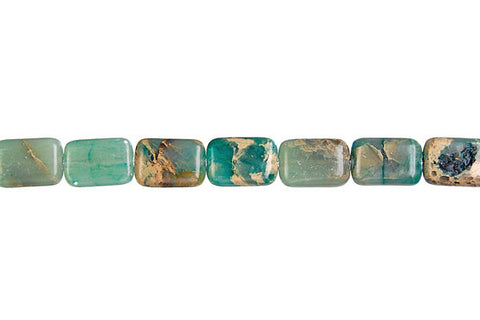 Aqua Terra Jasper (Stabilized) Flat Rectangle Beads