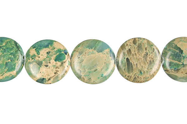 Aqua Terra Jasper (Stabilized) Coin Beads