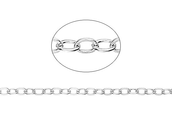 Sterling Silver Flat Cable Chain, 1.7x2.1mm