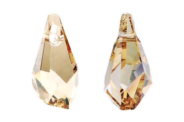 Swarovski Crystal Polygon Drop Pendant (6015) Crystal (Golden Shadow)