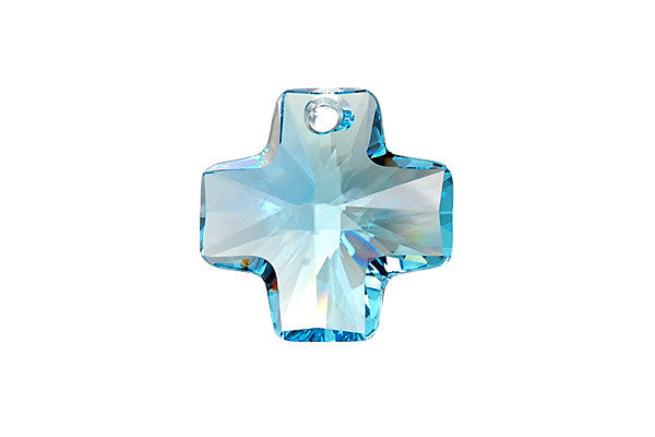 Swarovski Crystal Cross Pendant (6866) Aquamarine