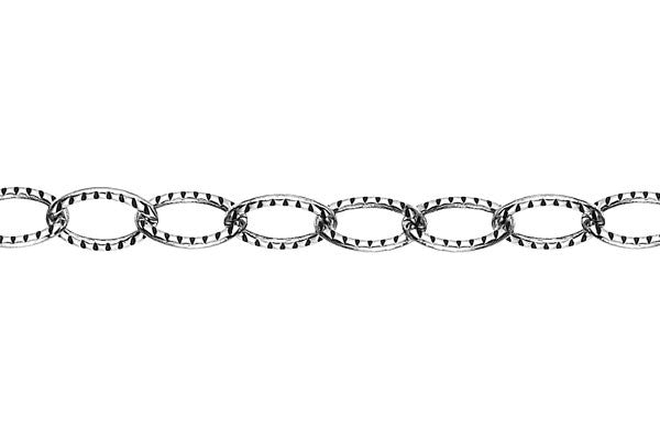 Sterling Silver Oxidized Textured Cable Chain, 4.6x6.5mm