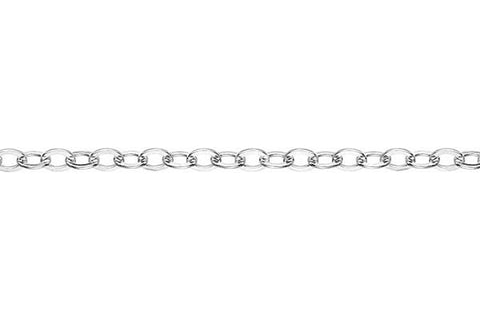 Sterling Silver Flat Cable Chain, 2.2x3.0mm
