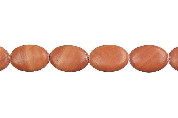 Red Zebra Jasper Flat Oval Beads