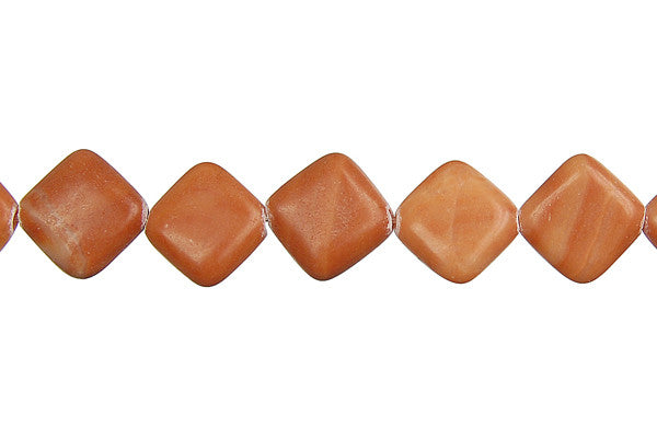 Red Zebra Jasper Diamond Square Beads
