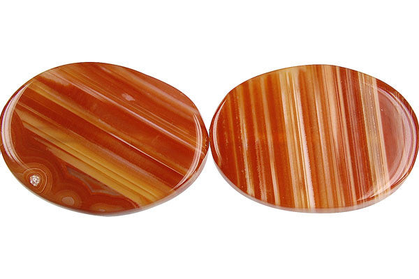 Red Agate Flat Oval Beads