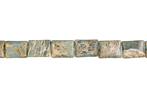 Aqua Terra Jasper Flat Rectangle Beads