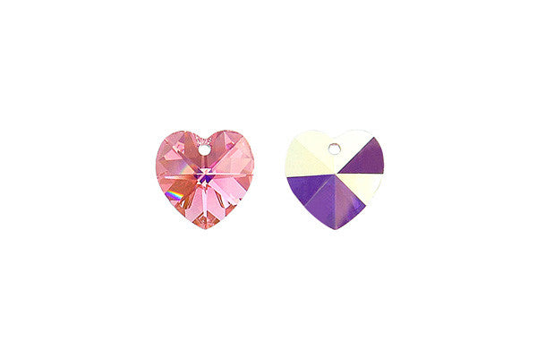 Swarovski Crystal Heart Pendant (6202) Light Rose (AB)