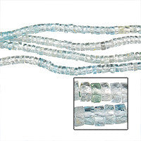 Multi Aqua Faceted Disc Beads