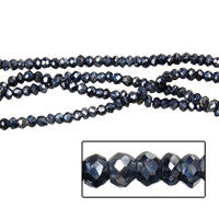 Black Spainal Faceted Rondelle Beads