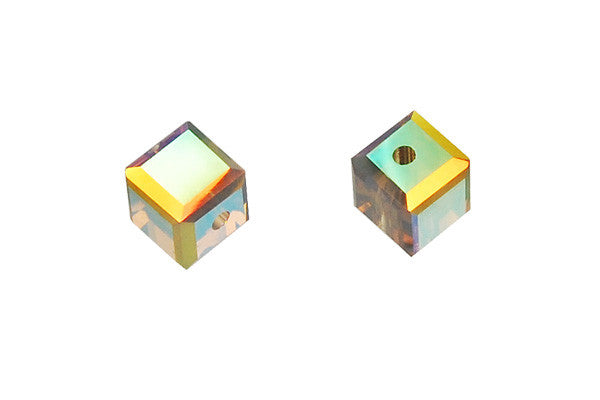 Swarovski Crystal Cube (5601) Light Grey Opal (AB)