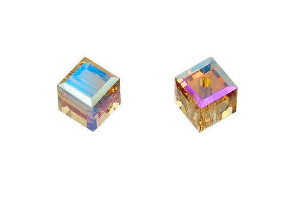 Swarovski Crystal Cube (5601) Light Colorado Topaz (AB)