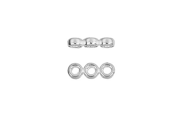 Sterling Silver Triple Rondelle Spacer, 3.0mm