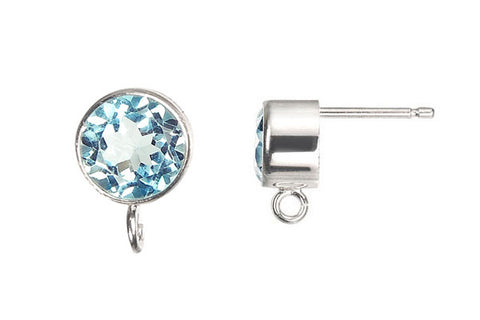 Sterling Silver Post Earring, 6.0mm Sky Blue Topaz Bezel w/Ring