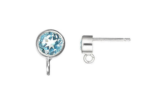 Sterling Silver Post Earring, 4.0mm Sky Blue Topaz Bezel w/Ring