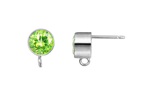 Sterling Silver Post Earring, 6.0mm Peridot Bezel w/Ring