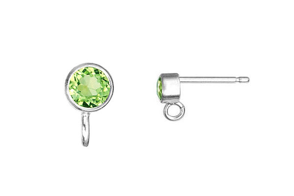 Sterling Silver Post Earring, 3.0mm Peridot Bezel w/Ring