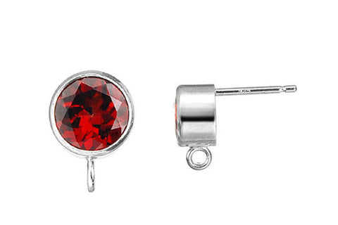 Sterling Silver Post Earring, 6.0mm Garnet Bezel w/Ring