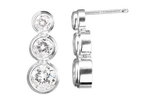 Sterling Silver Post Earring, 4.0-6.0mm CZ Bezel
